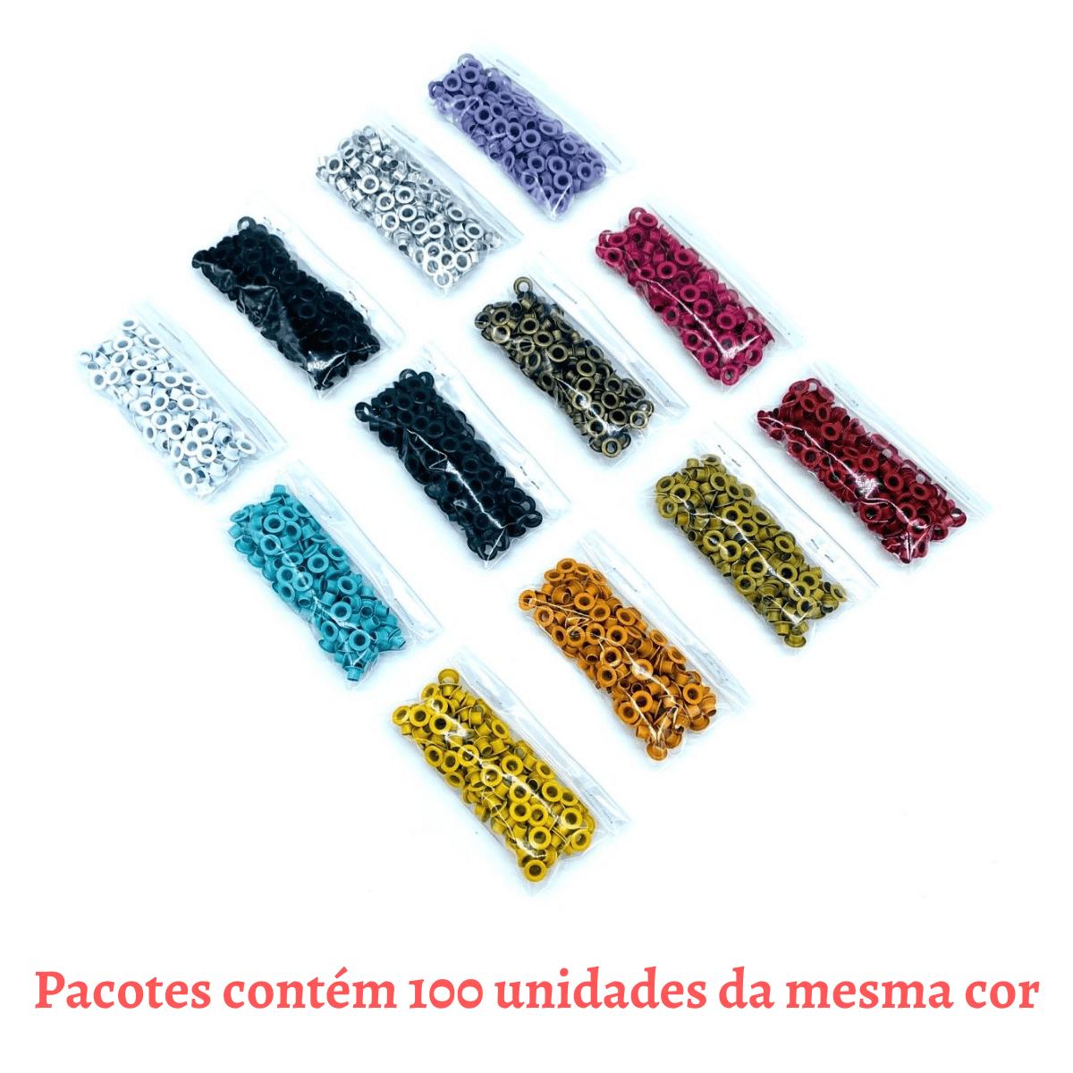 Conjunto com 1.200 Ilhós Nº 54 alumínio colorido - Escolha suas Cores