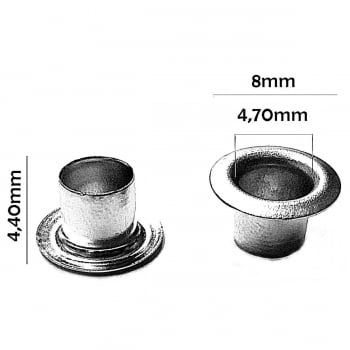 Ilhós Nº 54 Alumínio 8mm Externo Cinza