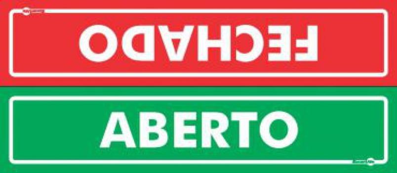 Placa PVC Aberto / Fechado (frente / Verso) 300 x 65 x 0,80mm
